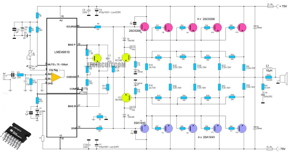 medium resolution of high end power amplifier circuit using ic lme49810 as a circuit diagram wireless fidelity
