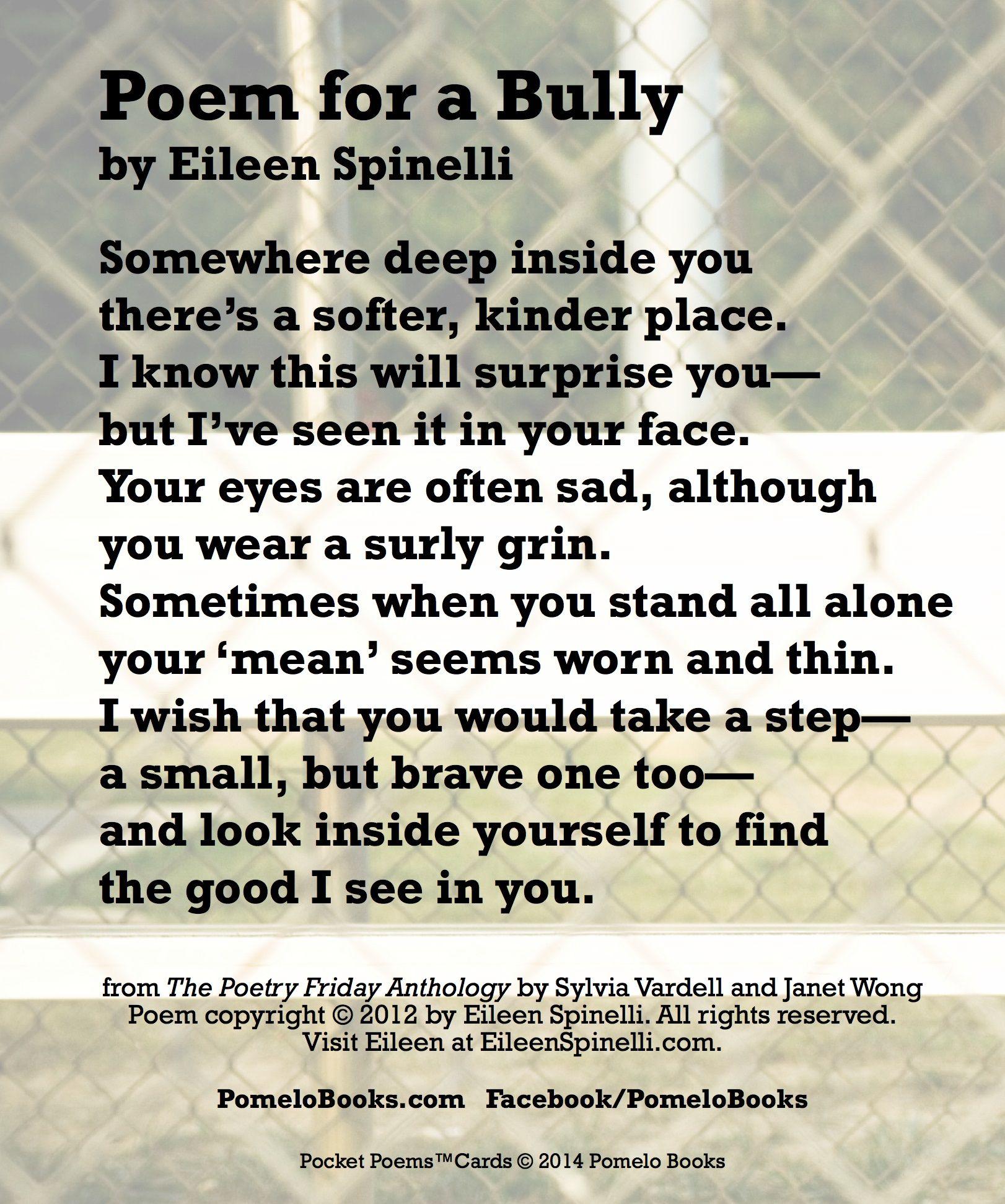 Short Bullying Quotes: Bullying Poems Short Rhyme