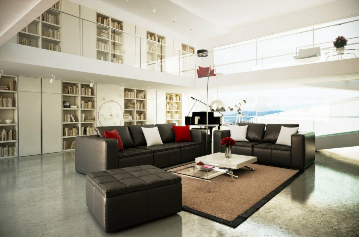 Black White Brown Living Room With Mezzanine Elements Of My