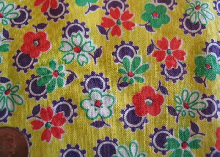 One vintage feedsack yellow  orange green purple flowers great pattern also