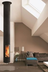 Wood-burning central hanging fireplace SLIMFOCUS by Focus ...