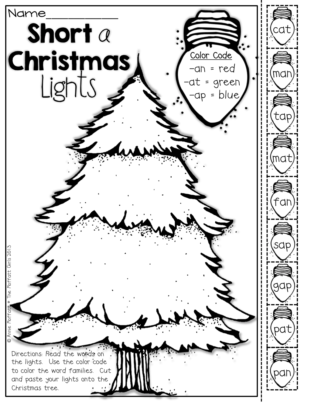 Color The Christmas Lights By Word Family Cut And Paste