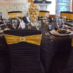 Gold Sequin Chair Covers Fishing With Storage Black Ruched Cover Spandex