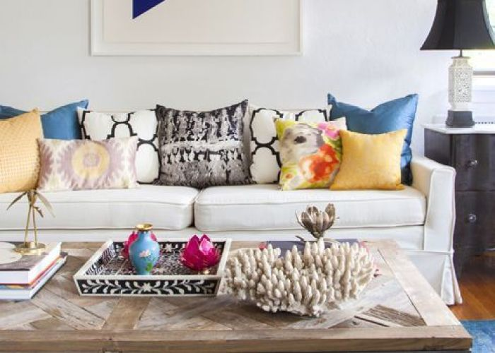 Love the coffee table design manifest living room sofa colorful pillows overdyed rug also family designs furniture and decorating ideas http home