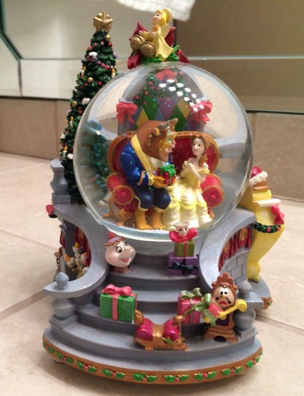Rare Disney Beauty And Beast Christmas Snow Globe