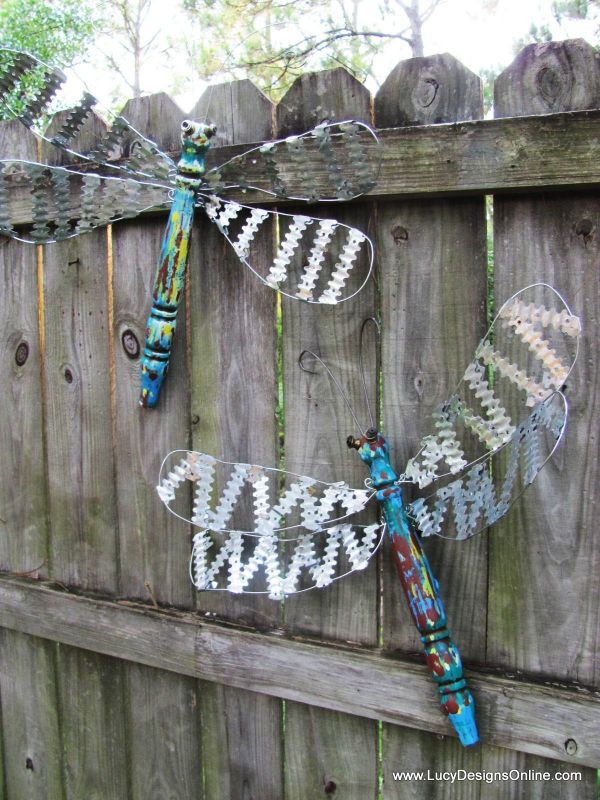 Cute Table Legs With Scrap Metal Wings Dragon Fly Decor Fence