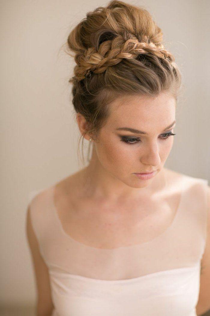 Lange Haare Steckfrisur Mit Zopf Hochzeit Pinterest