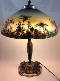 Offering a fantastic Pittsburgh reverse painted lamp with ...