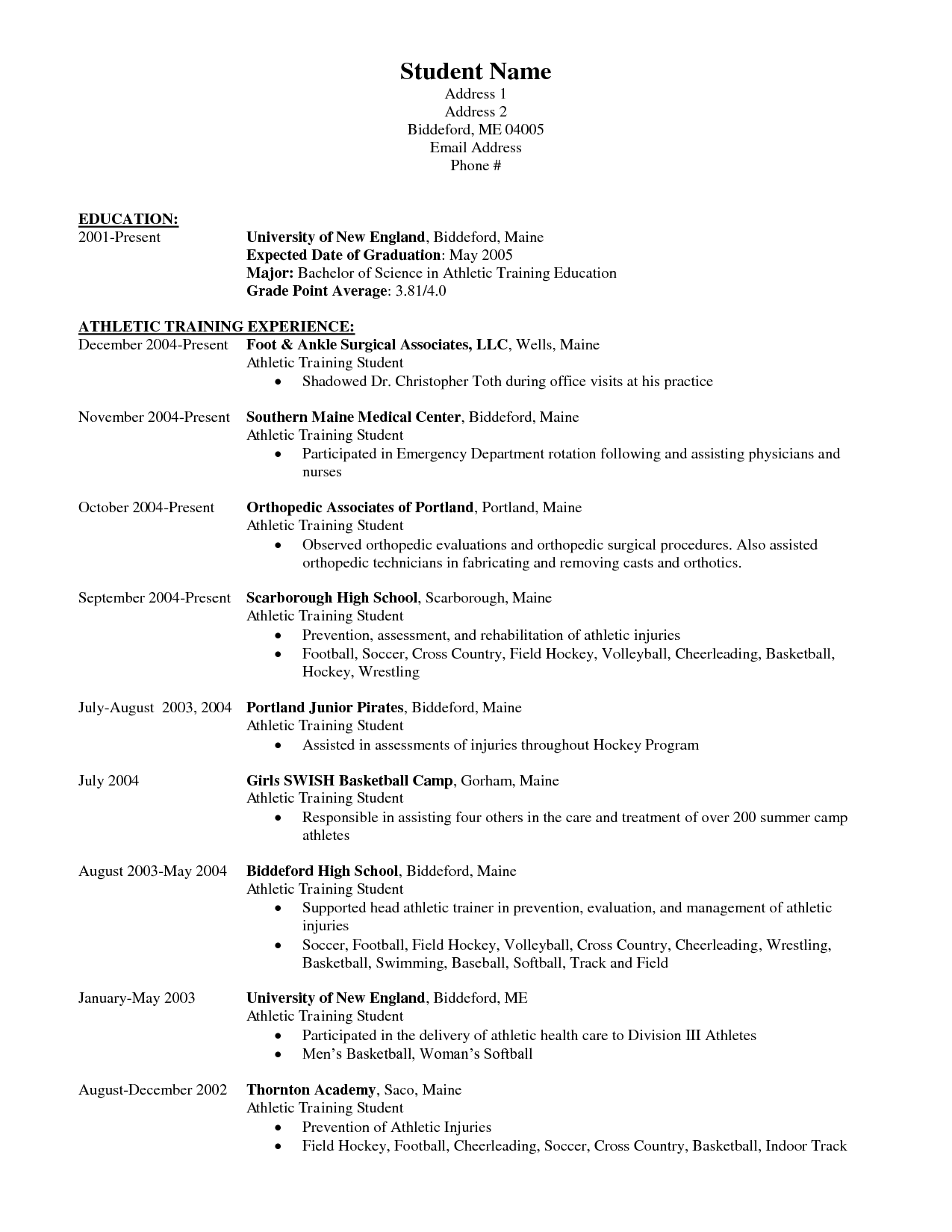 athletic resume templates - Ecza.solinf.co
