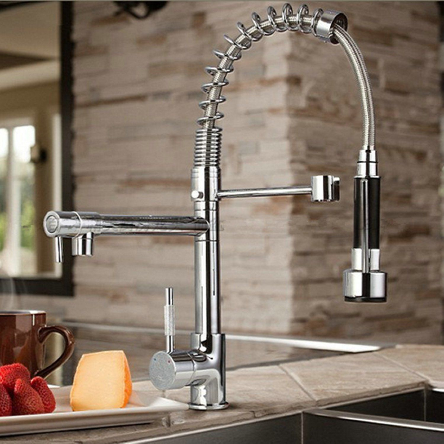 kitchen sink and faucet organizer byb chrome modern designer single handle pull out spray