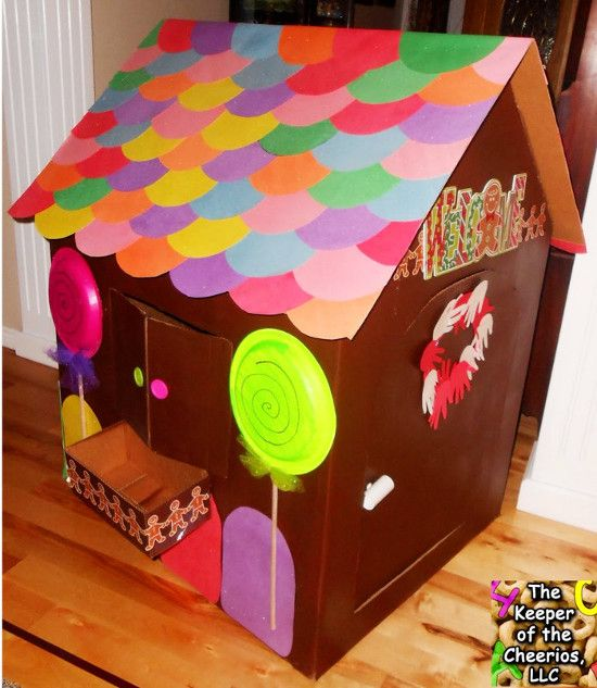DIY Life Size Gingerbread Playhouse From A Cardboard Box Card