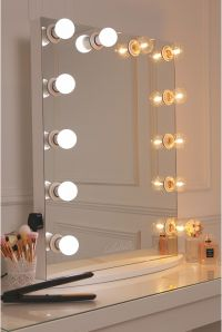 vanity mirror with a pure white finish, framed with 12 LED ...