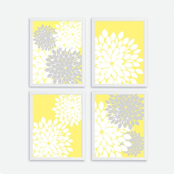 Printable flower set of instant download wall art decor bathroom also rh pinterest