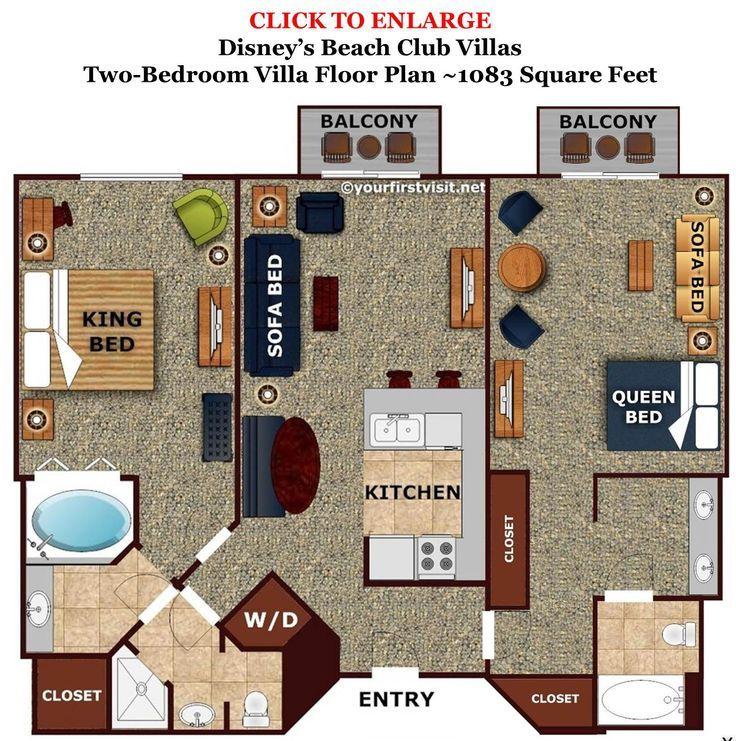 Boardwalk Villas 2 Bedroom Floor Plan