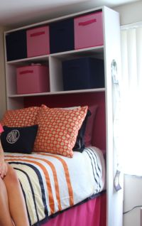 DIY Dorm Cubby with Foam Headboard. We built and painted