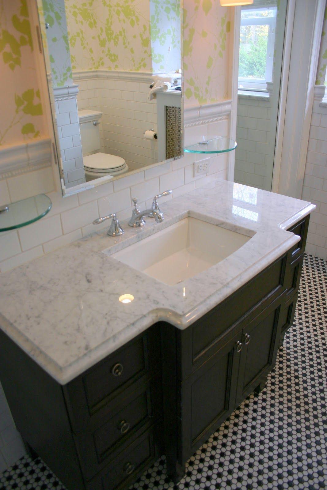 Small Bathroom hexagon Floor Tile Ideas