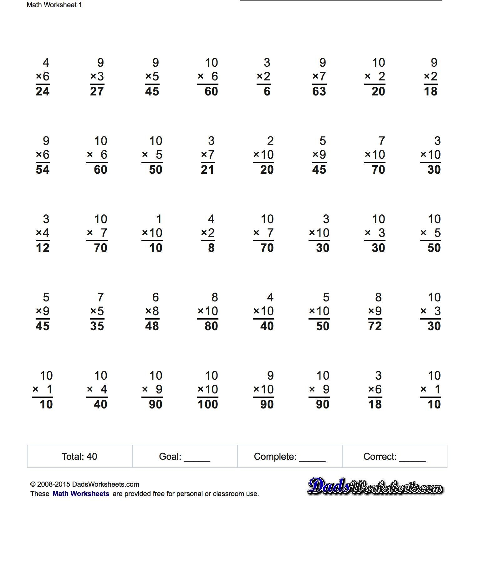 Squares Binary Progression Multiplication Worksheets