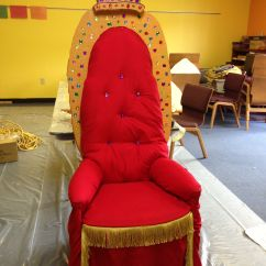 Throne Chair Cover Steel For Dining Table We Used A Red Flat Sheet As The Fabric That Was