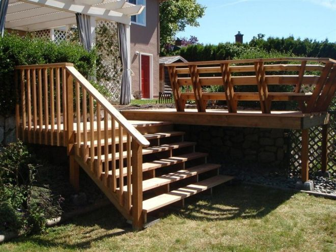 Exterior wooden exterior stairs design with handrails and