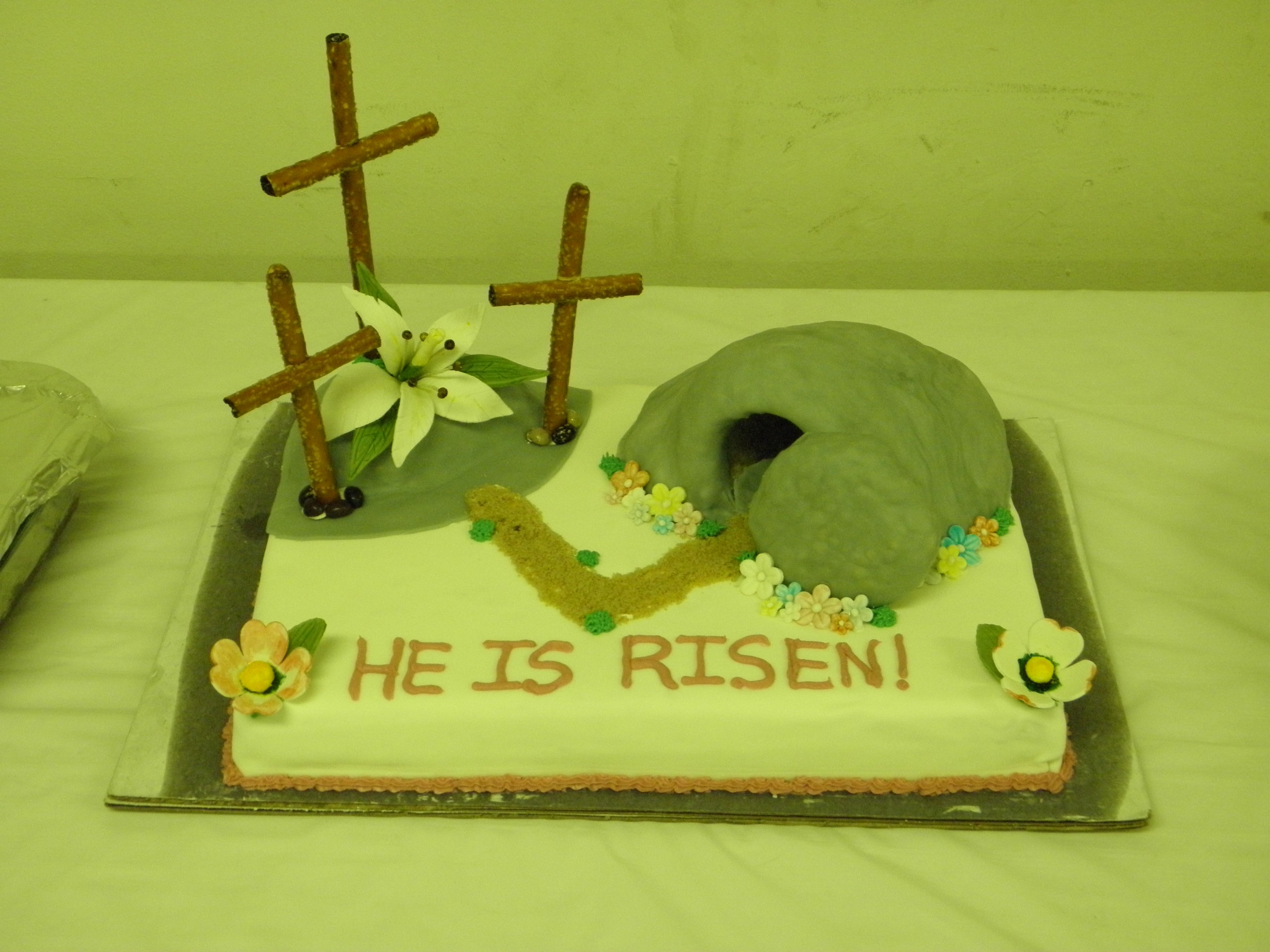 Easter Cake He Is Risen 3 Crosses On A Hill W Empty