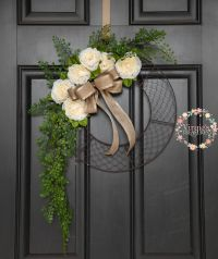Chicken Wire Wreath, Faux Floral with Greenery Chicken ...