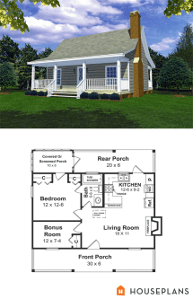 Cabin Style House Plan - 1 Beds Baths 600 Sq Ft #21
