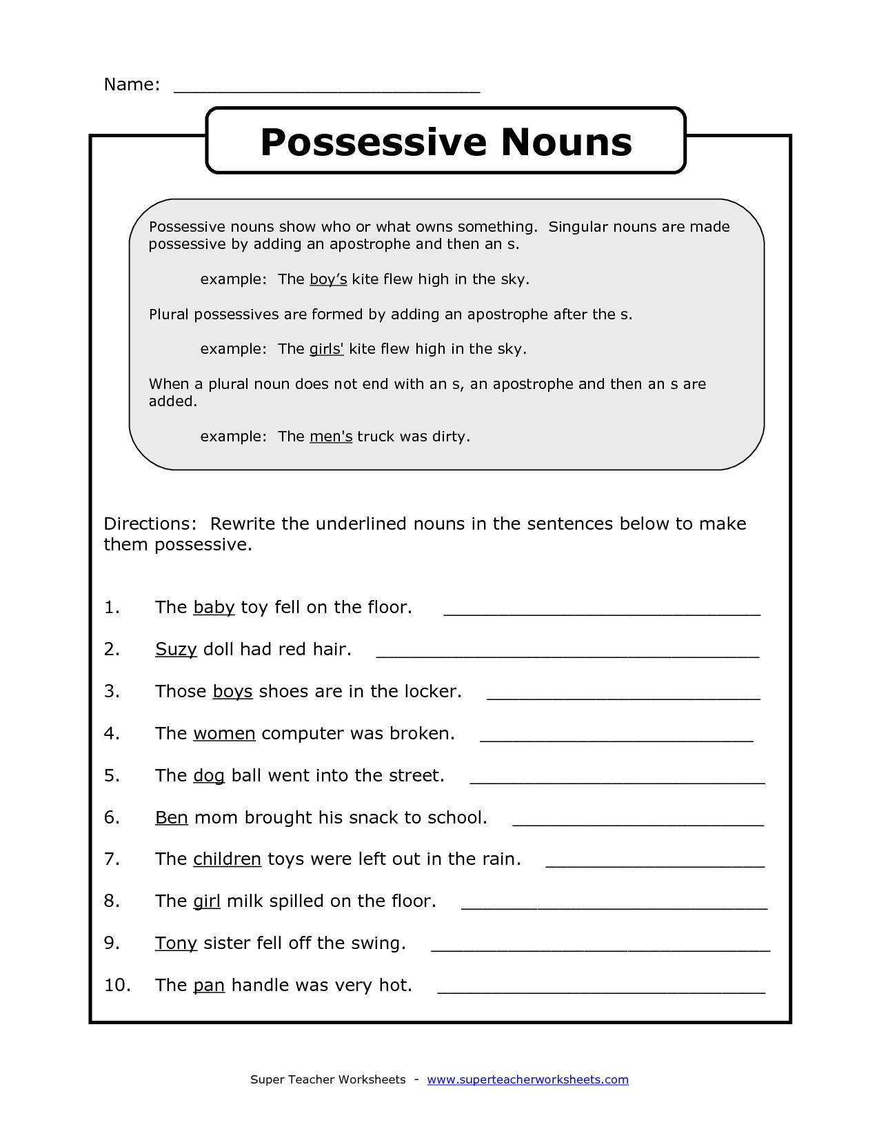 Singular Possessive Noun Practice Worksheets
