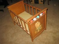 Vintage Wood Baby Doll Crib Bed Bunny Decal Plastic Blocks ...