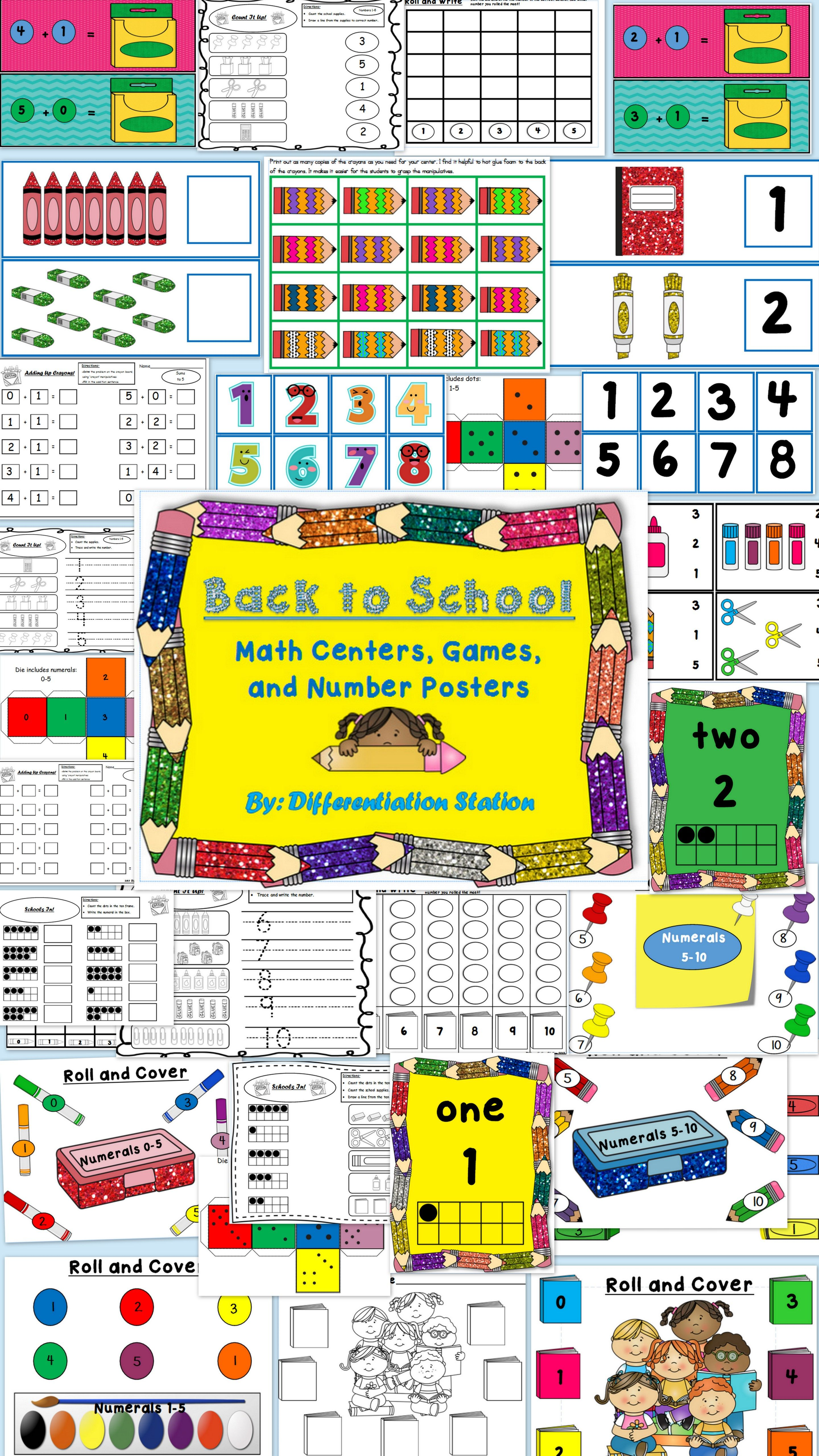 Back To School Math Centers Games Printables Posters