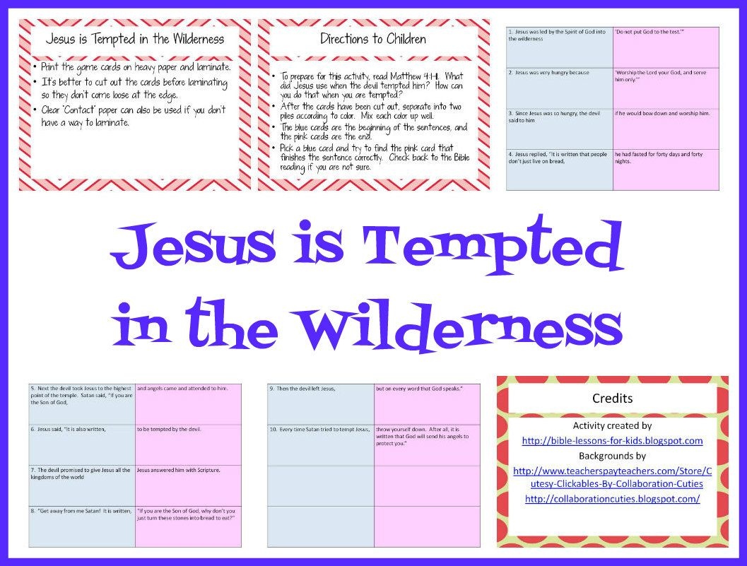 Bible Lessons For Kids Jesus Is Tempted In The Wilderness