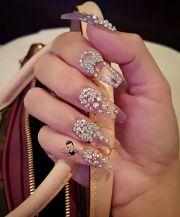 clear glass nails with swarovski