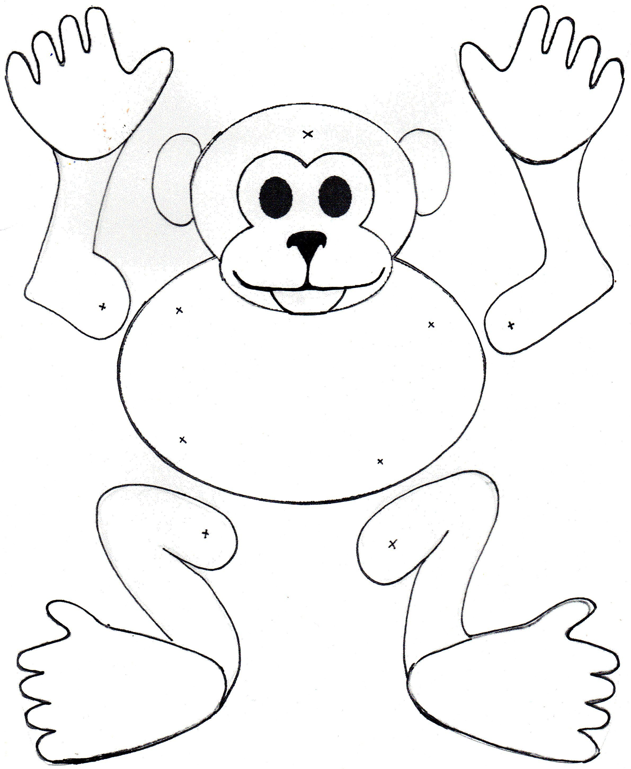 Mm monkey puppet. Colour, Cut and secure joints with split