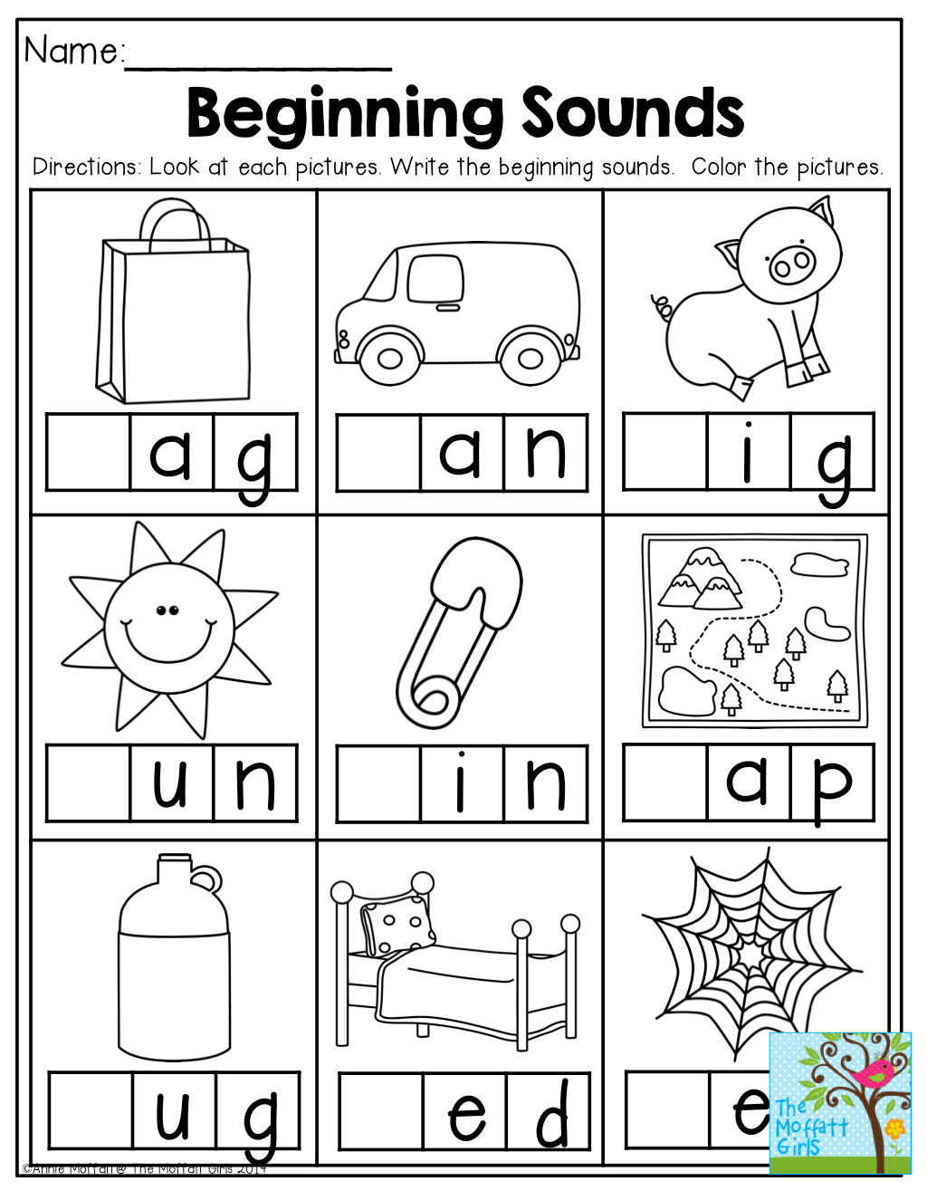 Beginning A Sounds Worksheet For Kindergarten