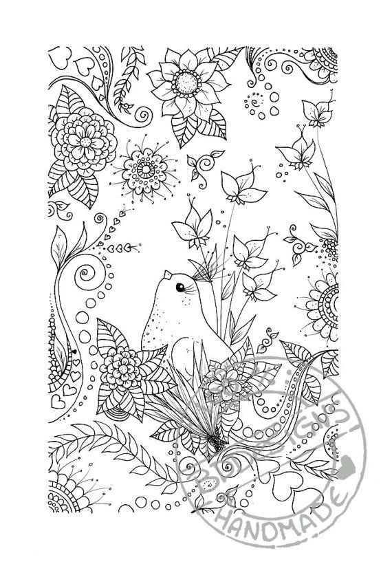 Flower Bird Abstract Doodle Zentangle Paisley Coloring