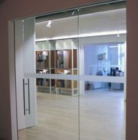 etched glass bands on doors and glas office walls ...