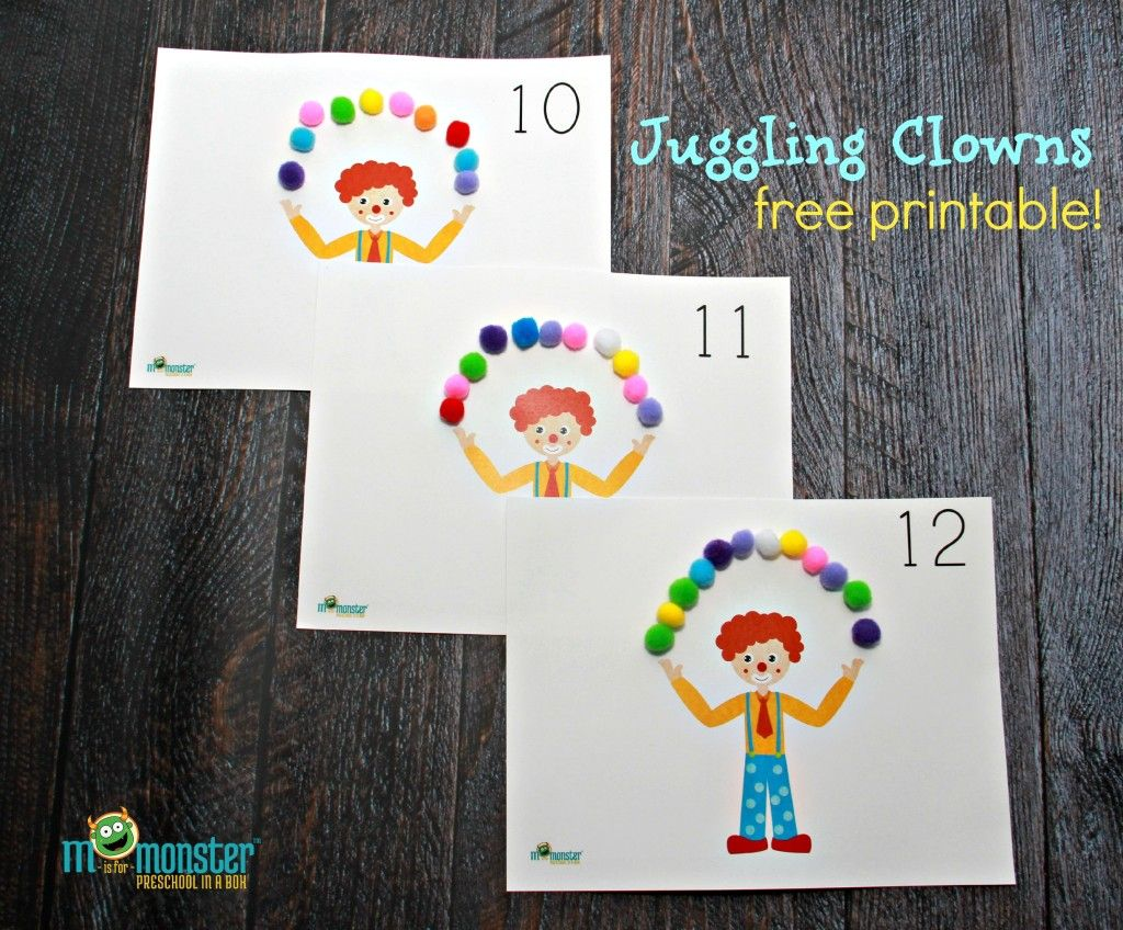 Juggling Clown Counting Activity For Toddlers And Preschoolers Free Printable From