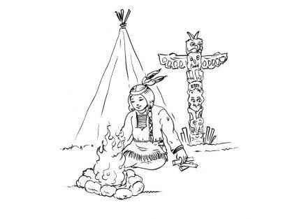Kleurplaten thema Indianen voor kleuters / Native American