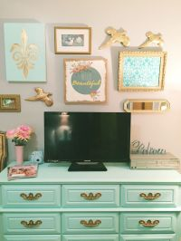 | Girl Bedroom | Mint Green | Gold | Coral | Collage Wall ...