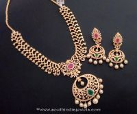 One Gram Gold Stone Necklace Set with Earrings | Gold ...