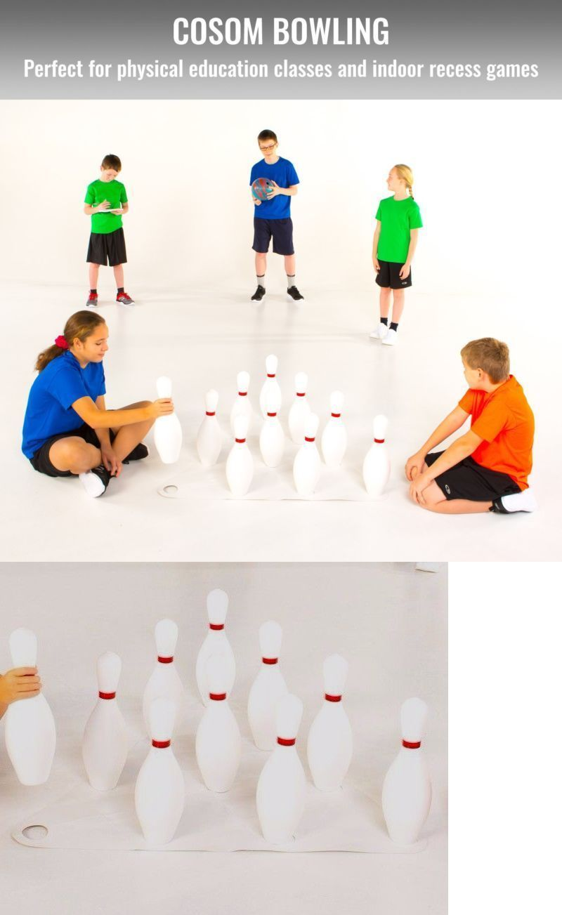 Cosom By Cramer White Non-Weighted 10 Bowling Pin Set, Regulation Height  15, Includes Set-Up Sheet And Score