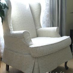 Bedroom Chair With Skirt Baby Toy High Set Wingback Slipcover Stitches And Threads