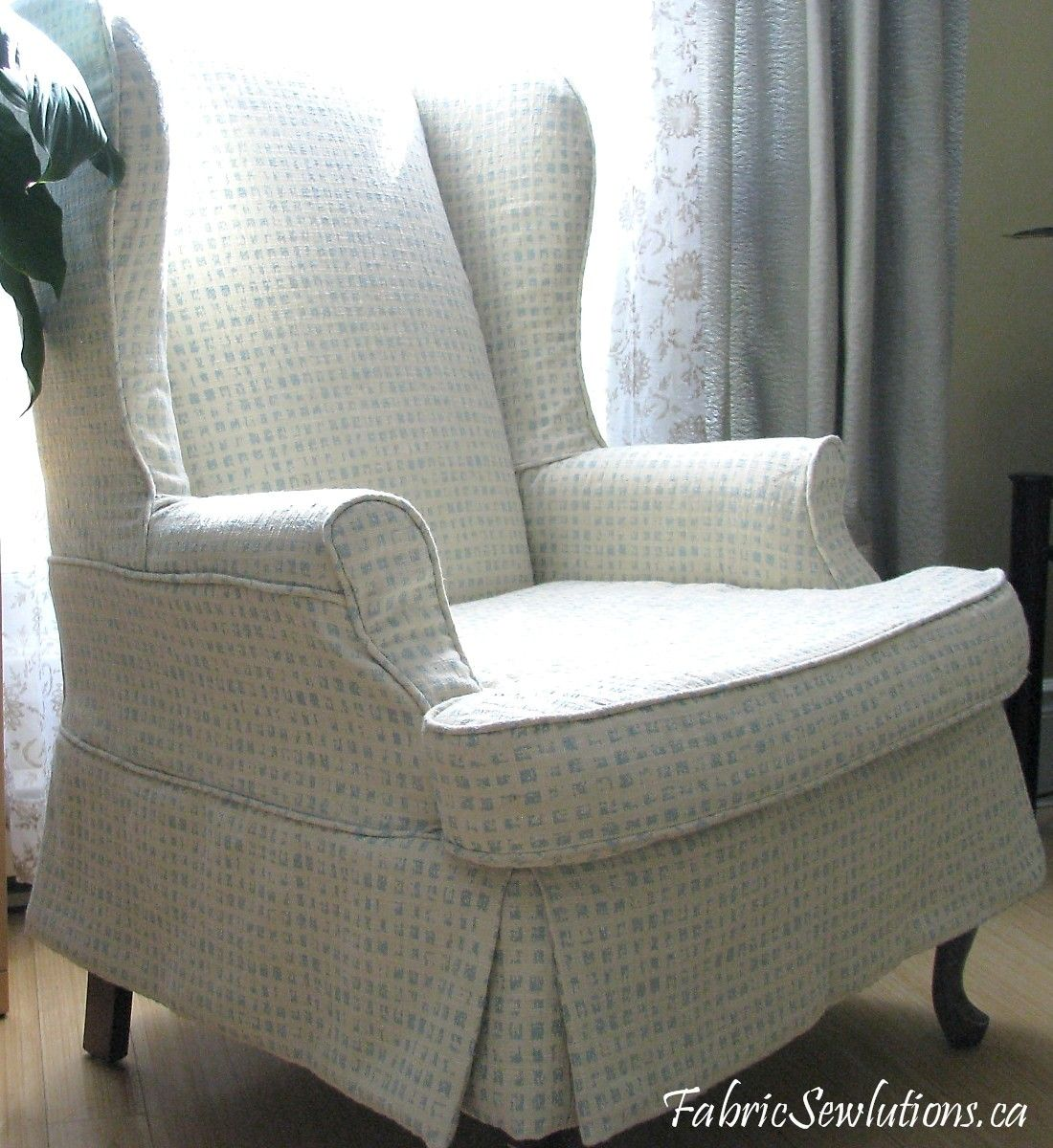 bedroom chair with skirt outdoor folding bag chairs wingback slipcover stitches and threads