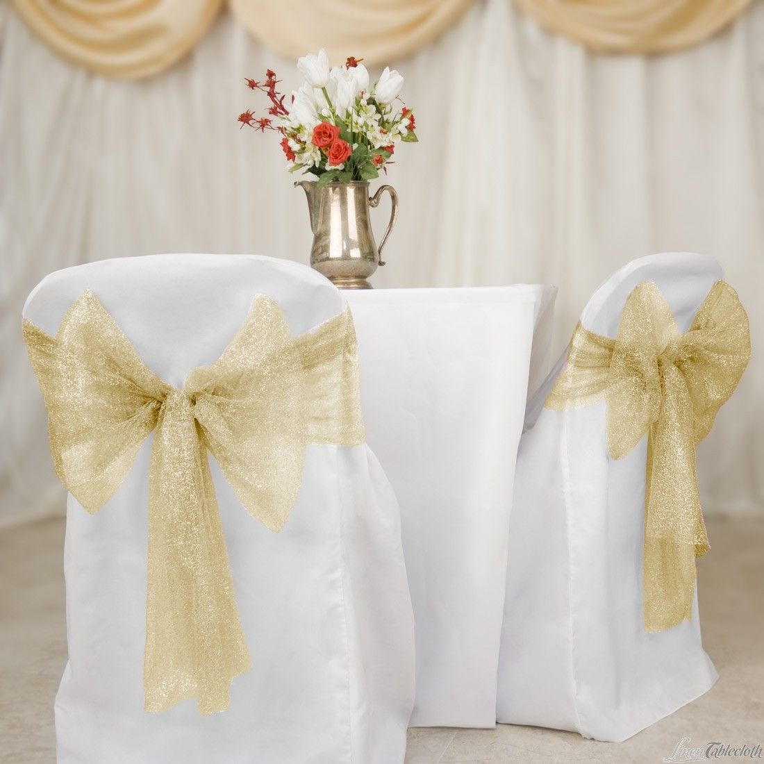 gold chair covers with black sash rattan chairs indoor nz buy metallic web mesh sashes for your wedding