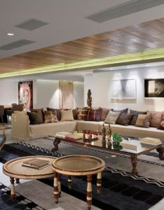 Architecture large living room with white interior design and round table cream fabric  sofa also rh pinterest