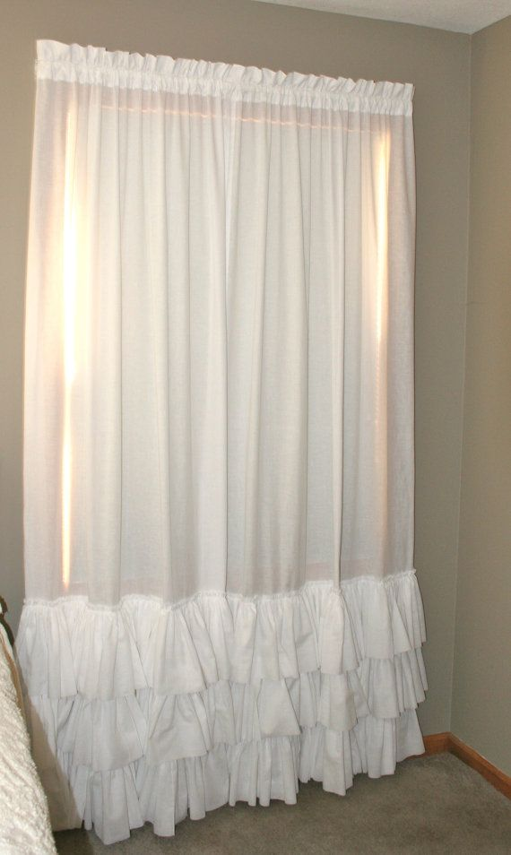 White Triple Ruffled PAIR Curtain Panels Heirloom Shades Up & Co