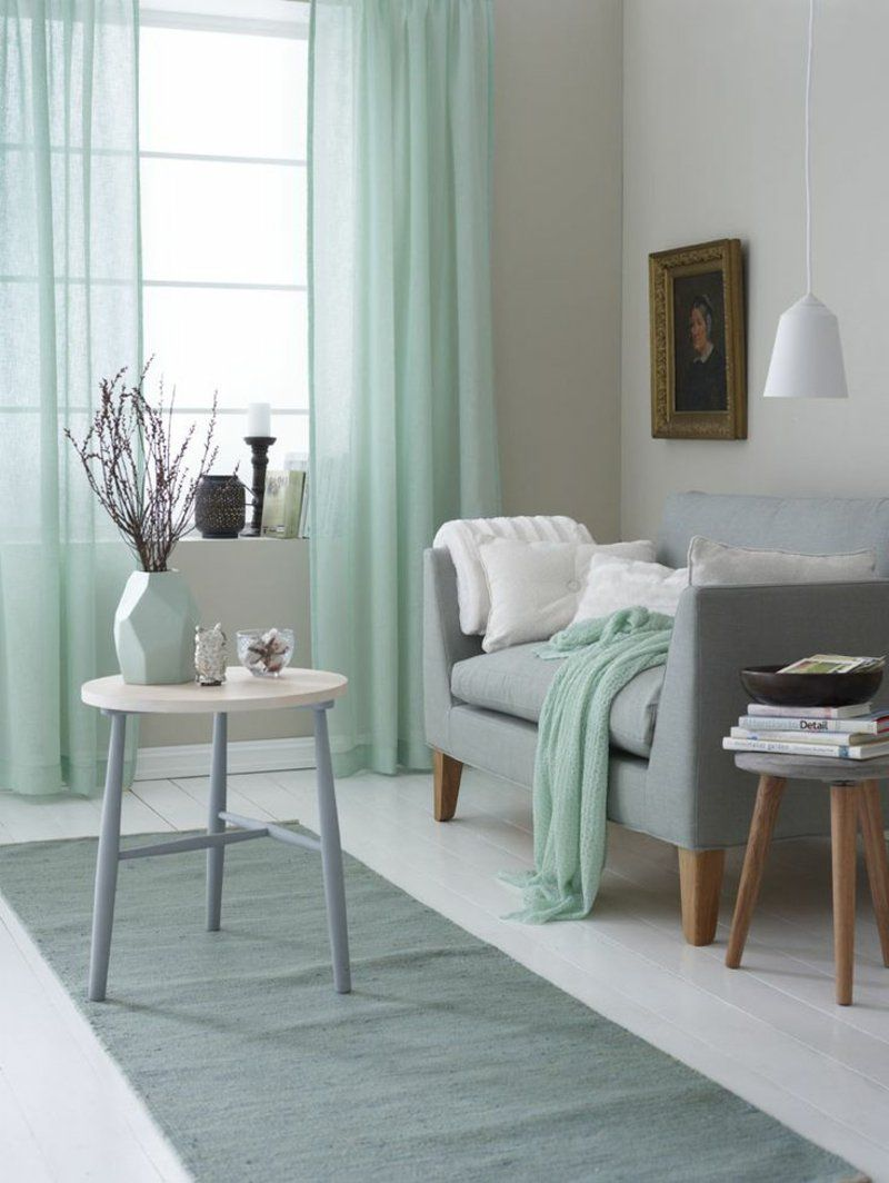 Einrichtungsideen im Wohnzimmer mit Farbe Minzgrn  Einrichtungsideen  Pinterest