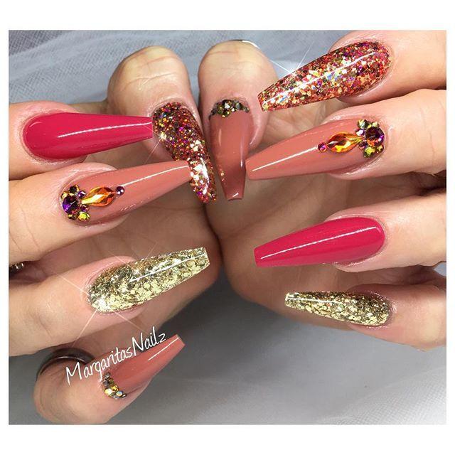 Fall fashion nail design coffin nails Swarovski and