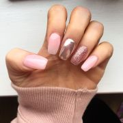 pink glitter and chrome nails