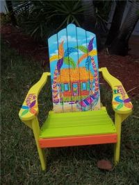 Tropical Adirondack Chair Handcrafted Hand Painted Beach ...