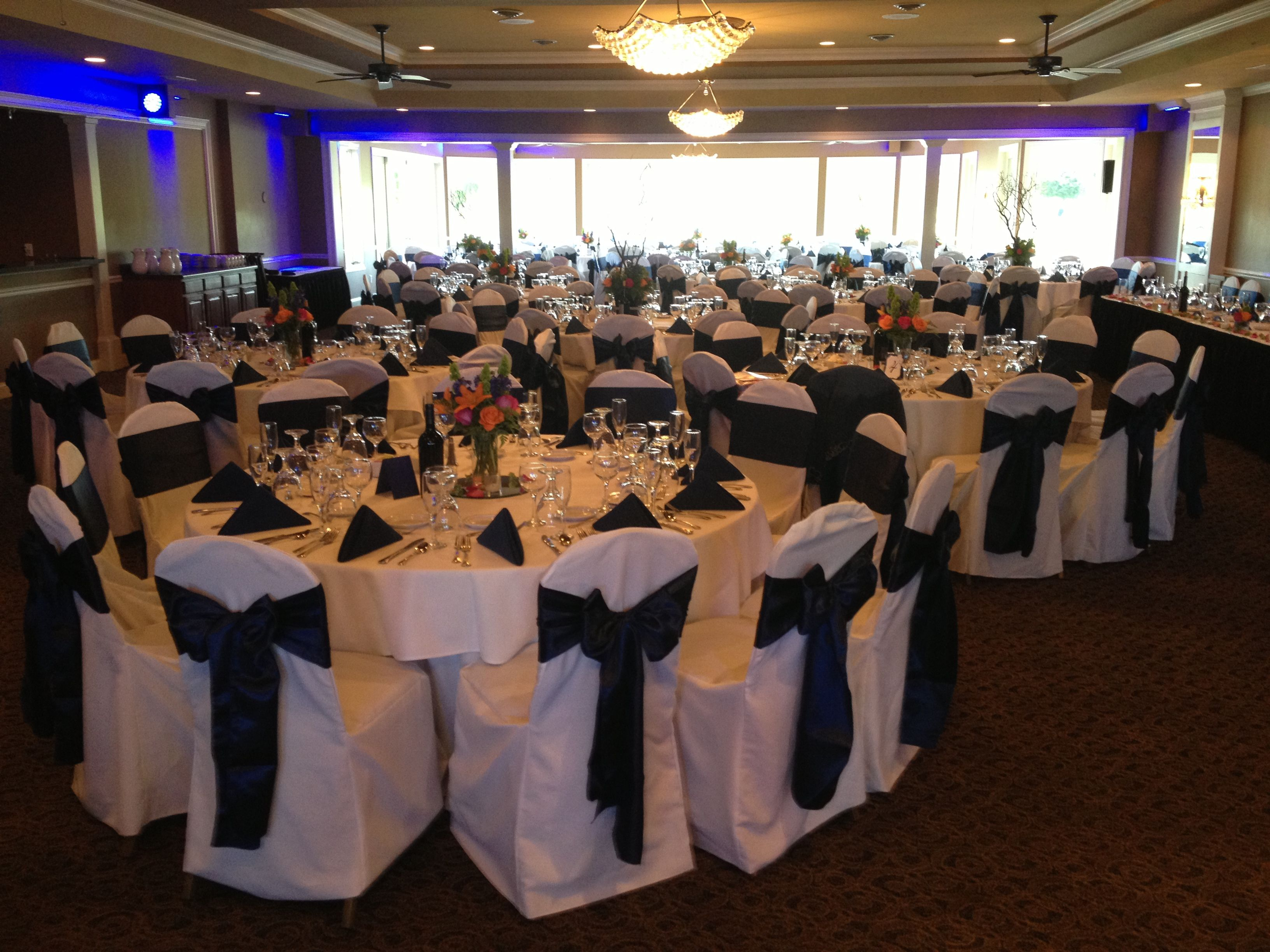 chair cover rental cost high back chairs wedding navy blue satin sash tie on white poly